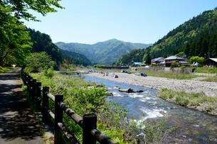 新緑 美山川の清流の写真素材 [FYI02647264]