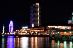 神戸港の夜景,ハ-バ-ランドモザイク大観覧車の写真素材 [FYI02647273]