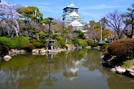 桜,大阪城日本庭園から天守閣の写真素材 [FYI02647549]