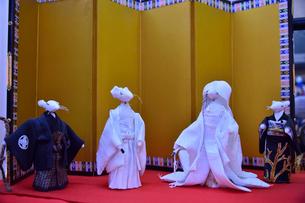 真壁のひなまつりに飾られたネズミの嫁入り人形の写真素材 [FYI02648895]