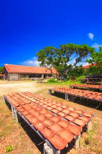 沖縄赤瓦の干場と玉元輝政工房の写真素材 [FYI02649188]