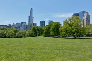 新緑のシープメドーとマンハッタン スカイラインの写真素材 [FYI02649444]