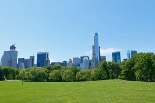新緑のシープメドーとマンハッタン スカイラインの写真素材 [FYI02649463]