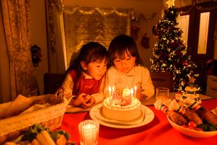 クリスマスケーキの前で並んで座る女の子の写真素材 [FYI02649472]