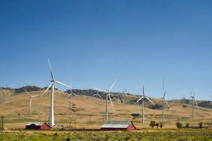 並ぶ風力発電の風車の写真素材 [FYI02649576]