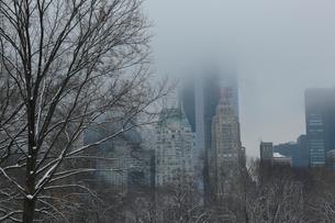 霞む冬のマンハッタンスカイラインの写真素材 [FYI02649702]