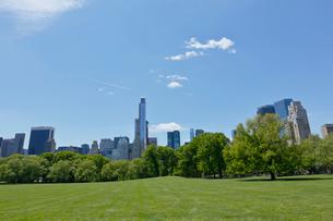 新緑のシープメドーとマンハッタン スカイラインの写真素材 [FYI02649756]