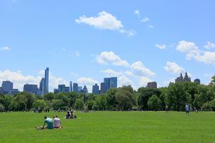 新緑のグレートローンとマンハッタン スカイラインの写真素材 [FYI02649777]
