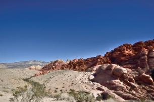 地層と色々な色の岩山が並ぶレットロックキャニオン国立保護区の写真素材 [FYI02649868]