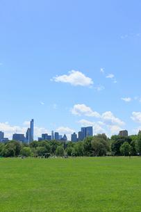 新緑のグレートローンとマンハッタン スカイラインの写真素材 [FYI02650309]