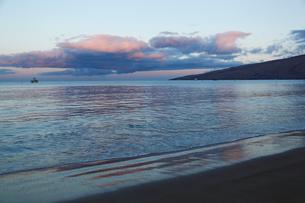 早朝の光に輝く穏やかなマアラエア湾キヘイ ビーチの写真素材 [FYI02650509]