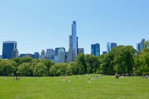 新緑のシープメドーとマンハッタン スカイラインの写真素材 [FYI02650545]