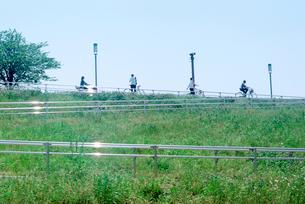 江戸川土手のサイクリング道路の写真素材 [FYI02650640]