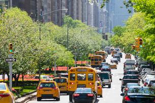 新緑の並木に覆われるパークアベニューの交通 アッパーマンハッタン ニューヨークの写真素材 [FYI02650785]
