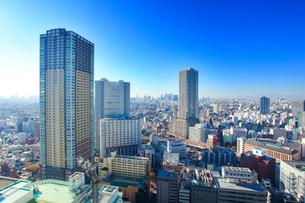 タワー型マンションと新宿方向のビル群の富士山遠望の写真素材 [FYI02651412]