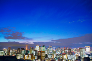 薄暮の明石町から望む西方向のビル群と東京タワーの写真素材 [FYI02651731]
