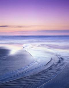 オコッペ川河口と朝の海の写真素材 [FYI02651804]