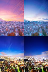 明石町から望む西方向のビル群の夕夜景の写真素材 [FYI02651835]