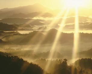阿騎野の朝霧と光芒の写真素材 [FYI02653024]