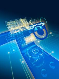 GUI空間表示制御の未来系自動車コックピットのイラスト素材 [FYI02653367]