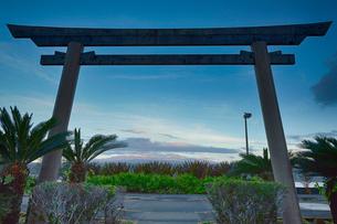 ハワイ島のリリウオカラニ公園の鳥居とマウナケアの写真素材 [FYI02653550]