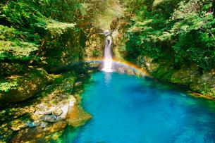 仁淀ブルーのにこ淵と滝に掛かる虹の写真素材 [FYI02653758]