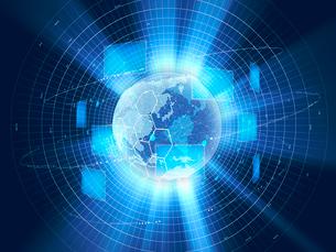 地球儀とモニターが浮かぶGUI画面と放射光のイラスト素材 [FYI02654064]