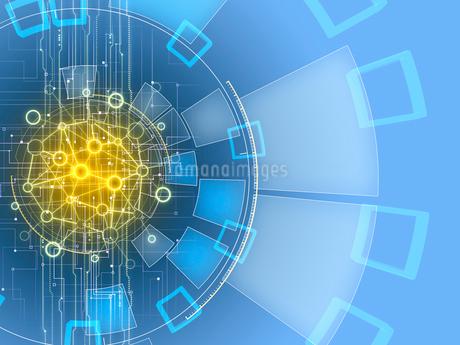 ネットワーク解析する円形のGUIパネルのイラスト素材 [FYI02654091]