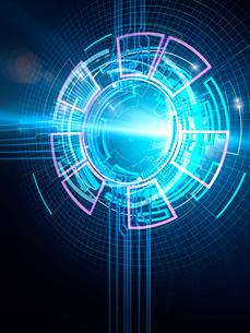 光芒を放って集中制御する円形のGUI操作パネルのイラスト素材 [FYI02654152]
