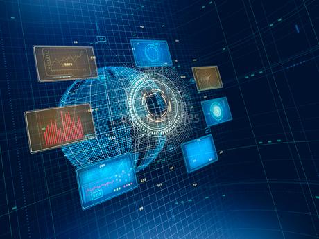 空間に様々な情報を表示するGUI解析パネルのイラスト素材 [FYI02654157]