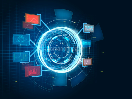 様々な情報を表示する円形のGUI操作パネルのイラスト素材 [FYI02654171]
