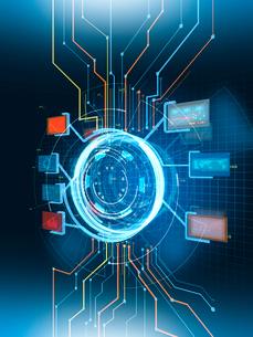 様々な情報を表示する円形のGUI操作パネルと回路群のイラスト素材 [FYI02654173]
