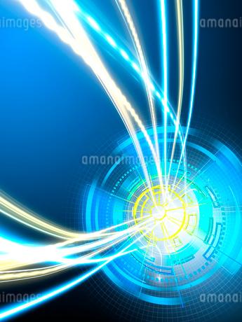 データビームが蛇行放射される円形のGUI操作パネルのイラスト素材 [FYI02654221]