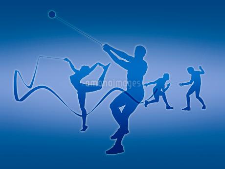 オリンピック競技のシルエット青背景のイラスト素材 [FYI02654235]