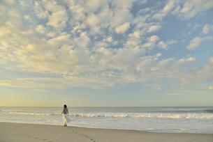 夜明けの海岸を歩く女性の写真素材 [FYI02654484]