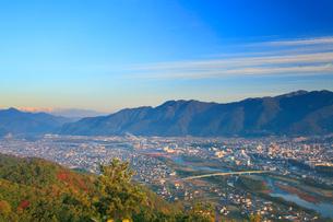小牧城上の城から望む太郎山と白馬連峰などの山並みと上田市街の写真素材 [FYI02654601]