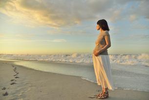 夜明けの海岸に立つ妊婦の写真素材 [FYI02654752]