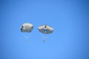 習志野第1空挺団 一般開放行事の降下訓練の写真素材 [FYI02654753]