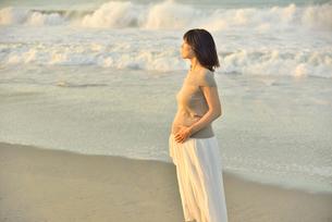 夜明けの海岸に立つ妊婦の写真素材 [FYI02654982]