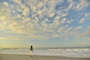 夜明けの海岸を歩く女性の写真素材 [FYI02655158]