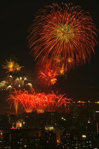 高良山から望む筑後川花火大会の写真素材 [FYI02655608]