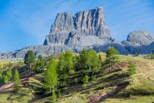 ドロミテ街道のファルザレゴ峠から望むファイブ岩峰の写真素材 [FYI02656003]