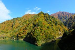 秋の加治川治水ダム周辺の写真素材 [FYI02657187]