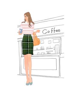 カフェスタンドの前に立ちコーヒーを手にする女の子のイラスト素材 [FYI02657291]