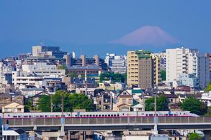 富士山と東京を走る上越・東北新幹線E2系はやて型の写真素材 [FYI02657722]