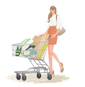 お店でショッピングカートを押して買い物する会社帰りのOLのイラスト素材 [FYI02657910]