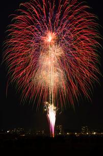 とりで利根川花火大会のスターマインの写真素材 [FYI02658063]