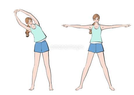 腕を広げストレッチの体操をする女性のイラスト素材 [FYI02658091]