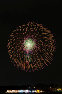 土浦全国花火競技大会の10号玉で昇曲導付三重芯変化菊の写真素材 [FYI02658119]