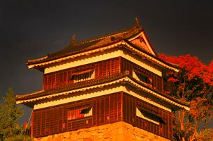 上田城の南櫓の夕景の写真素材 [FYI02658199]
